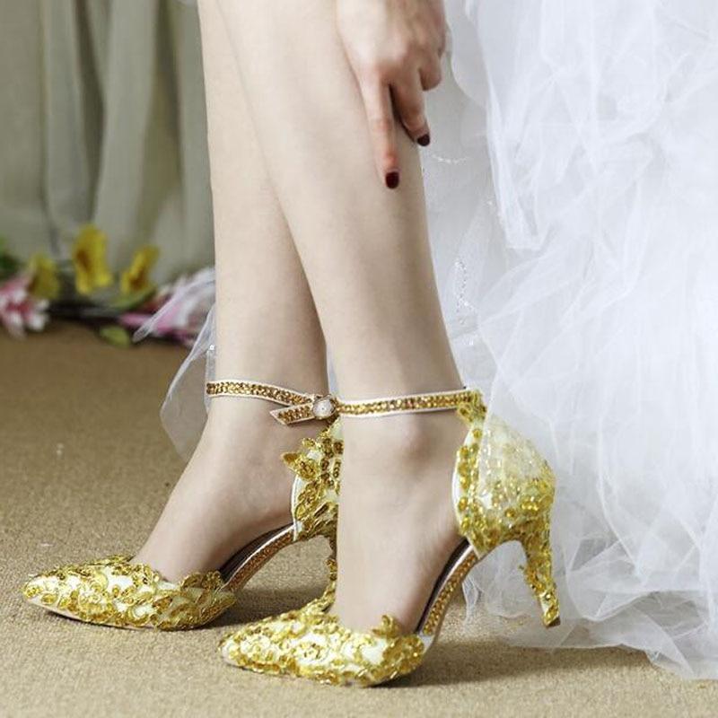 Femmes dentelle or bleu rouge Beige chaussures un mot pointu ceinture grande taille 42 talon haut fleur mariée demoiselle d'honneur princesse chaussures de mariage