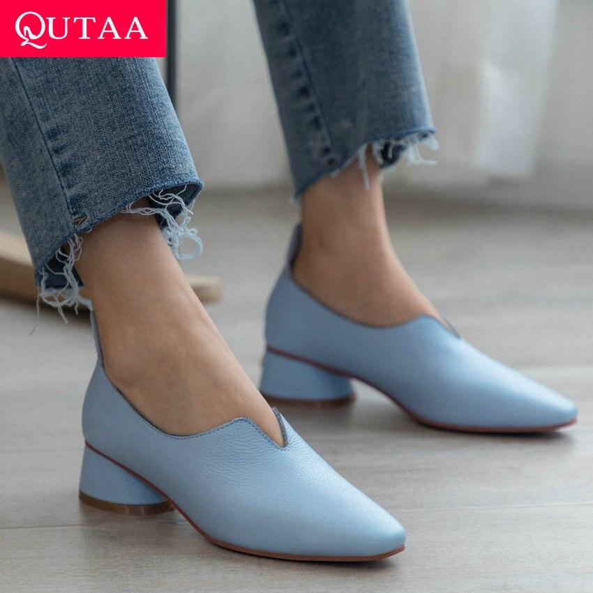 QUTAA 2020 Women Pumps Cow Leather pu Elegant Women Shoes Platform Square Heel Pointed Toe Pink