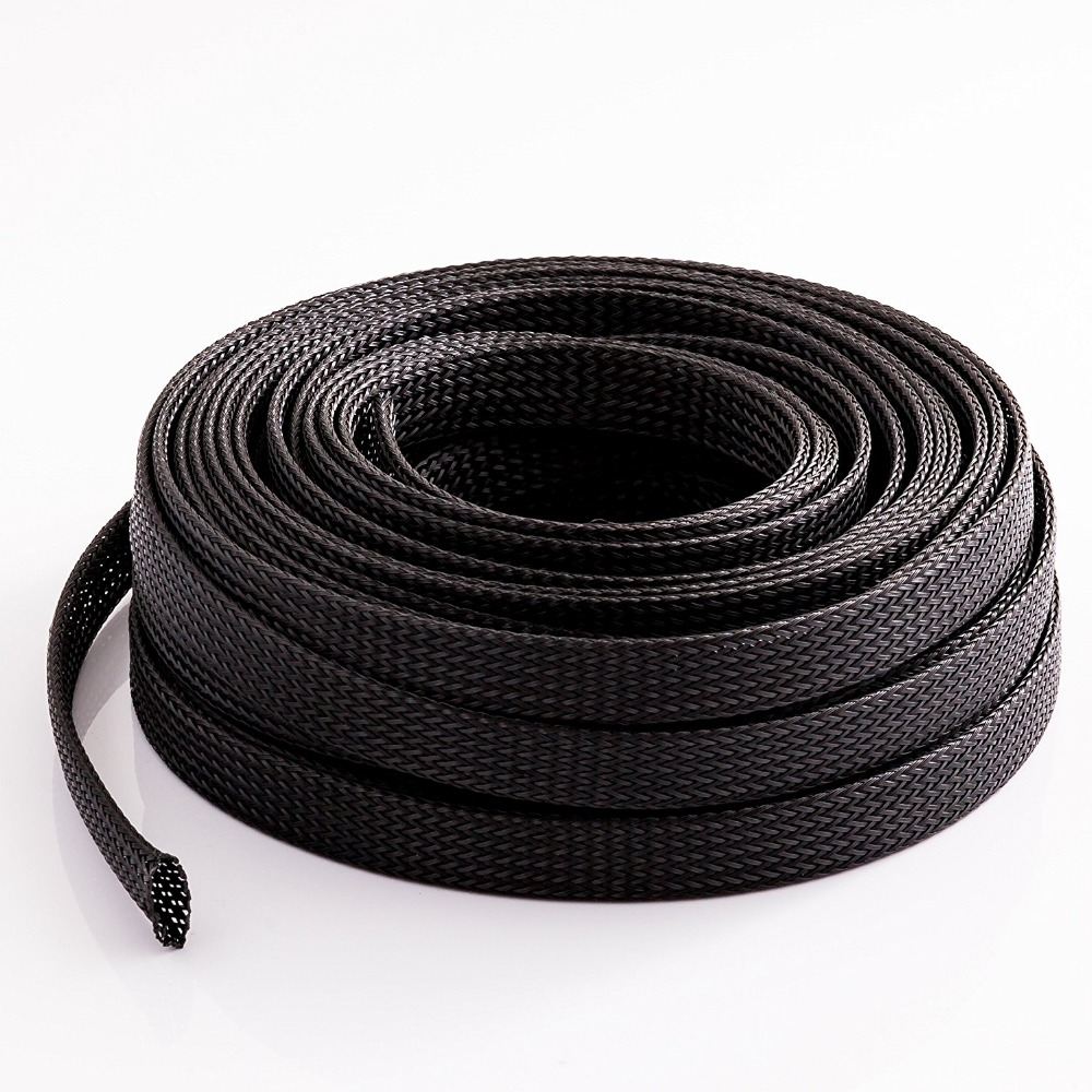 3/100/200/500 meters Length 1/2 12.7MM Black Cable Management and Organizer Cover - Expandable Braided Cord Sleeve