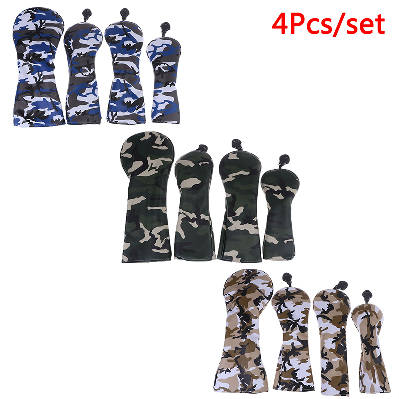 4Pcs PU Golf Head Covers For #1 Driver #3 #5 Fairway Woods Clubs Headcovers Camouflage Pattern Dustproof Covers