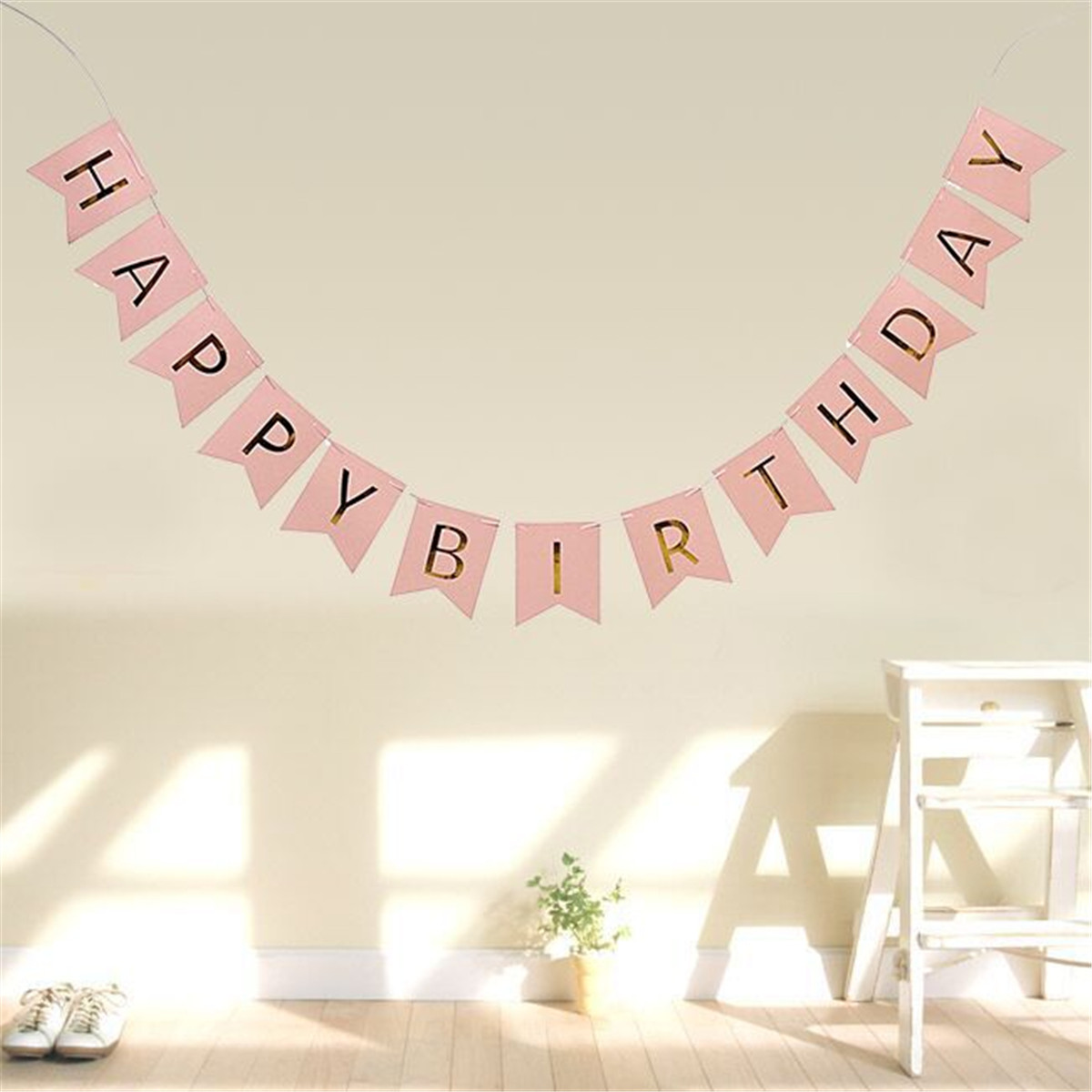 Gold Hanging Letters Pastel Pink Happy Birthday Banner Garland Hanging Gold Letters