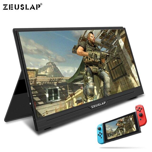 ZEUSLAP 15.6 インチポータブルモニター 1920x1080 HD Ips ディスプレイコンピュータ Led モニタ用の磁気ケース付き PS4/ xbox/電話/Macbook