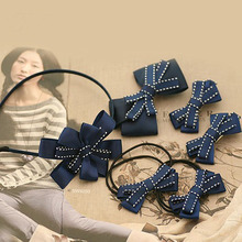 Ribbon Bow with Dotted Line Kids Hair Accessory Multilayer Hair Bows For Girls Headwear Tiny Ribbon Bow Hair Clip