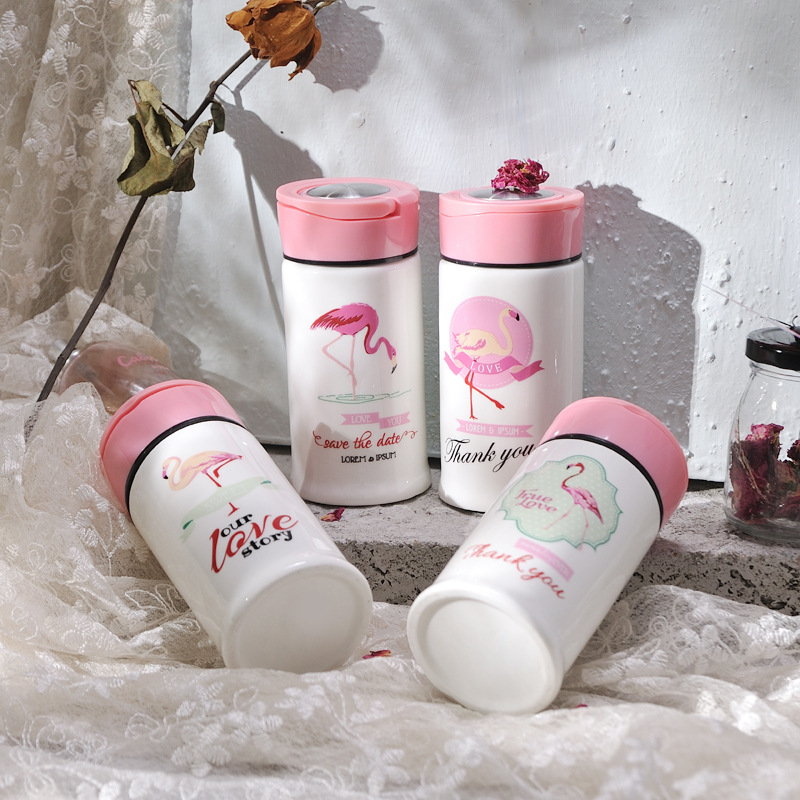 Wholesalse Cartoon Beauty Flamingos Bird ins Girl Mugs Pink Ceramic Cute Animal Coffee Mug Tea Cup Travel Mondri Gifts Mugs-045