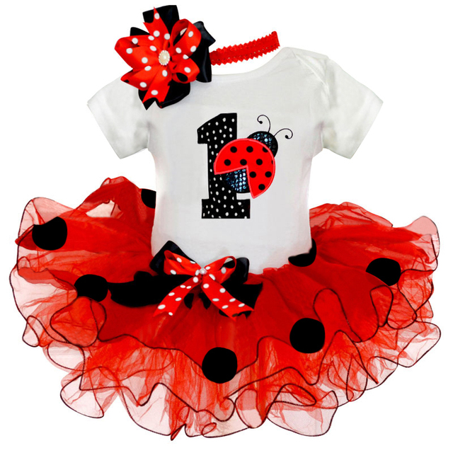 d3dee9649 Fancy Baby Girl Ladybug 1st Birthday Party Dress Outfit Tutu Cake Smash  Toddler Girls Kids Summer