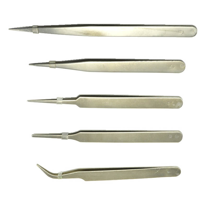 Stainless Steel Tweezer Slant Tip/Point Tip/ Flat Non-magnetic Tweezers Repair UV Glue Tool Supplier For Diy Jewelry Making