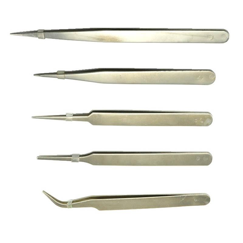 Stainless Steel Tweezer Slant Tip/Point Tip/ Flat Non-magnetic Tweezers Repair UV Glue Tool Supplier For Diy Jewelry Making