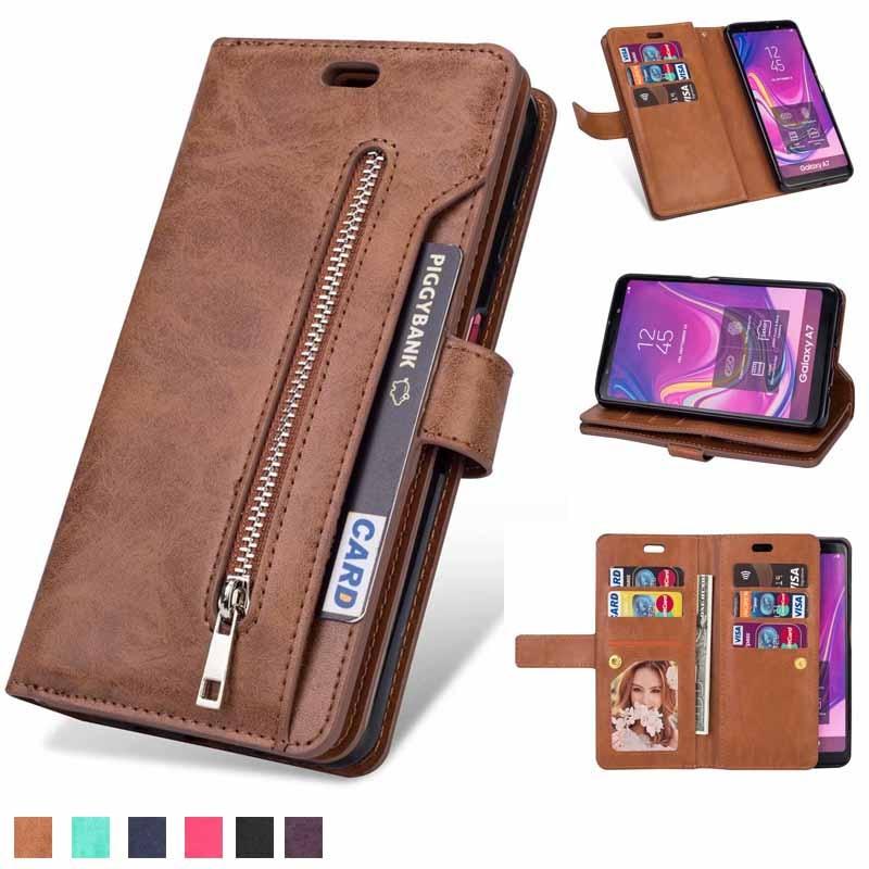 Retro zipper wallet For Samsung S7 S8 S9 S10 note10 Note8 Note9 J3 J5 J7 A3 A5 2017 J3 J4 J7 J6 A6 J8 A750 2018 cover phone case