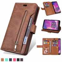 Retro zipper wallet For Samsung S7 S8 S9 S10 note10 Note8 Note9 J3 J5 J7 A3 A5 2017 J3 J4 J7 J6 A6 J8 A750 2018 cover phone case