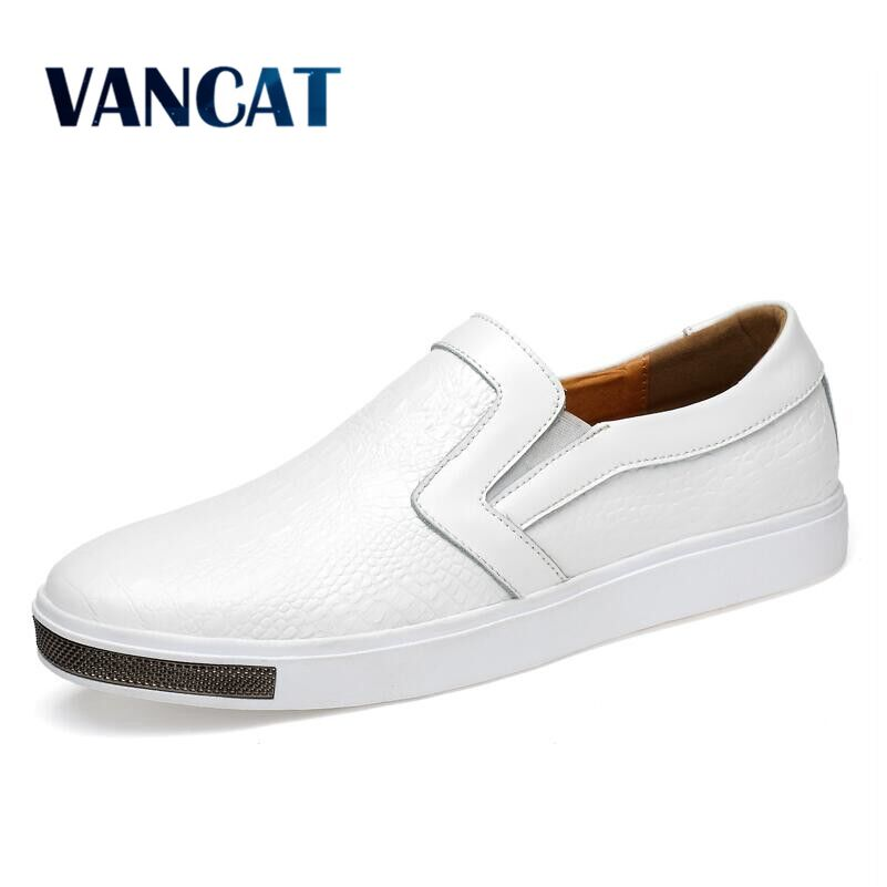 VANCAT Men Casual Shoes 2018 New Style Slip On Mens Shoes Crocodile Pattern Leather Luxury Sneakers Flat shoes Zapatillas hombre casual dancing sneakers hip hop shoes high top casual shoes men patent leather flat shoes zapatillas deportivas hombre 61