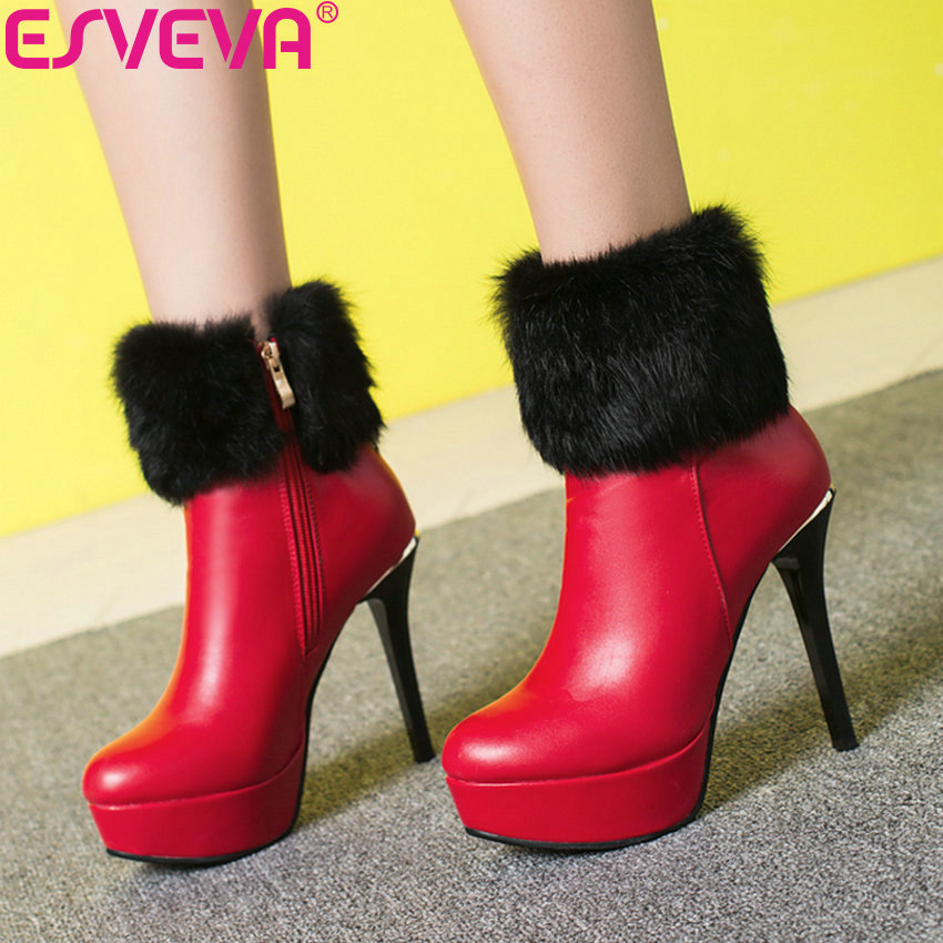 ESVEVA 2019 Woman Boots Faux Fur Thin High Heels Autumn Shoes Zip Boots Sewing Women Ankle Boots Platform Round Toe Shoes 34-42 platform bow faux fur ankle boots