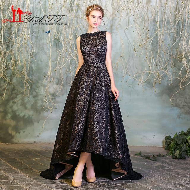 LIYATT robe de soiree courte Arabic Hi-Low Black Lace Evening Dresses  Vintage 2016 O-Neck Backless Formal Women Prom With Pocket d01b980ce374
