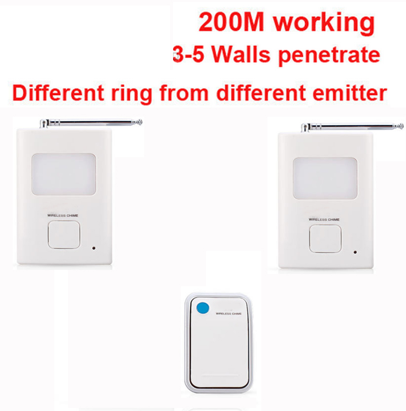200m work ring bell 1 emitters+2 receivers music doorbell wireless doorbell,wireless door chime bell 36 music door bell ks v2 welcom chime bell sensor