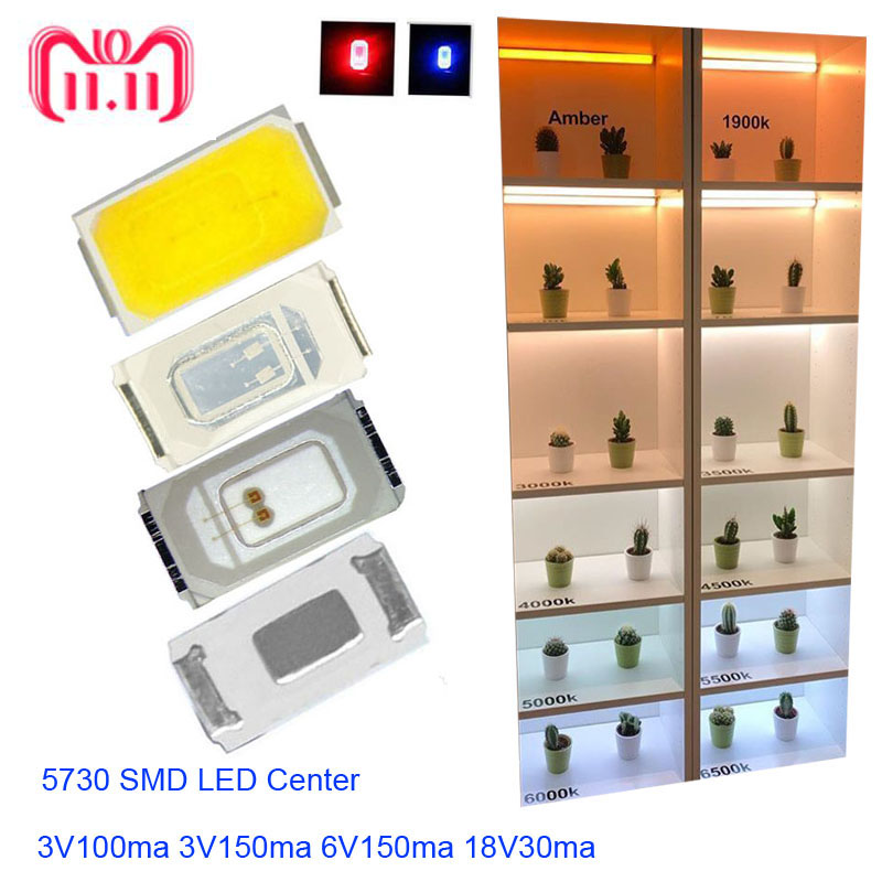Hot Sale High Brightness LED Chip 0.5w SMD 5730  LED 100Pcs Diodes 50-55lm 3.0-3.6v Nature White ,White,Warm White,Fast Delivery