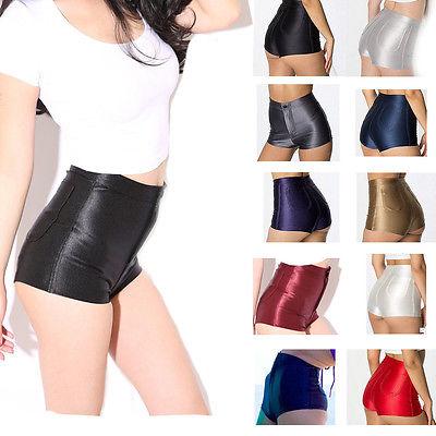 High Waist Shiny Stretch Women Girls Disco Short Pants Satin Shorts Hot Pants Candy Color