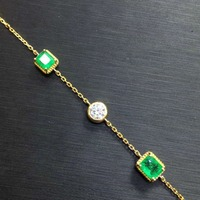 Jewellery, 1.5Ct Emerald hand chain, bare stone specifications: 6 x 4.8mm, 18K gold matching with moissanite , quality assurance