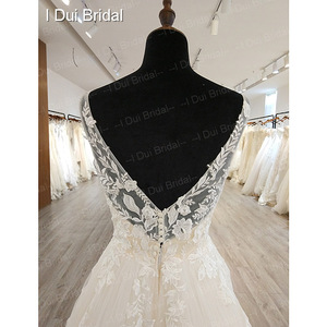 Image 4 - A line Classic Wedding Dress Lace Appliqued Corset Simple Elegant Bridal Gown High Quality Factory Real
