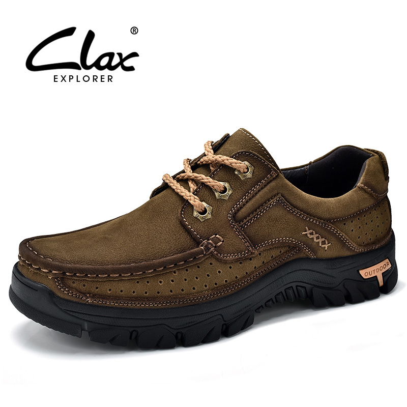CLAX Mens Leather Shoes 2018 Sping Summer Autumn Genuine Leather Male Casual Footwear Outdoor Walking Shoe Retro Vintage Soft male casual shoes soft footwear classic men working shoes flats good quality outdoor walking shoes aa20135