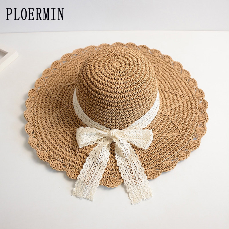 PLOERMIN Chic Panama Lace Bow Sun Hat For Women Fashion Handmade Foldable Visors Fedora Wide Brim Summer Beach Hat Ladies