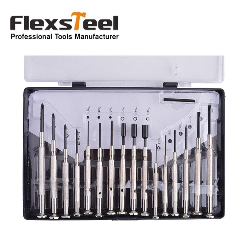 Set di cacciaviti di precisione multifunzione 16 pezzi Flexsteel con kit di strumenti di riparazione per punte esagonali a croce Phillips