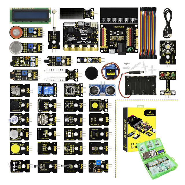 Keyestudio 37 en 1 Sensor de Kit de iniciación con Micro: poco junta para BBC Micro: Bit proyectos de bricolaje