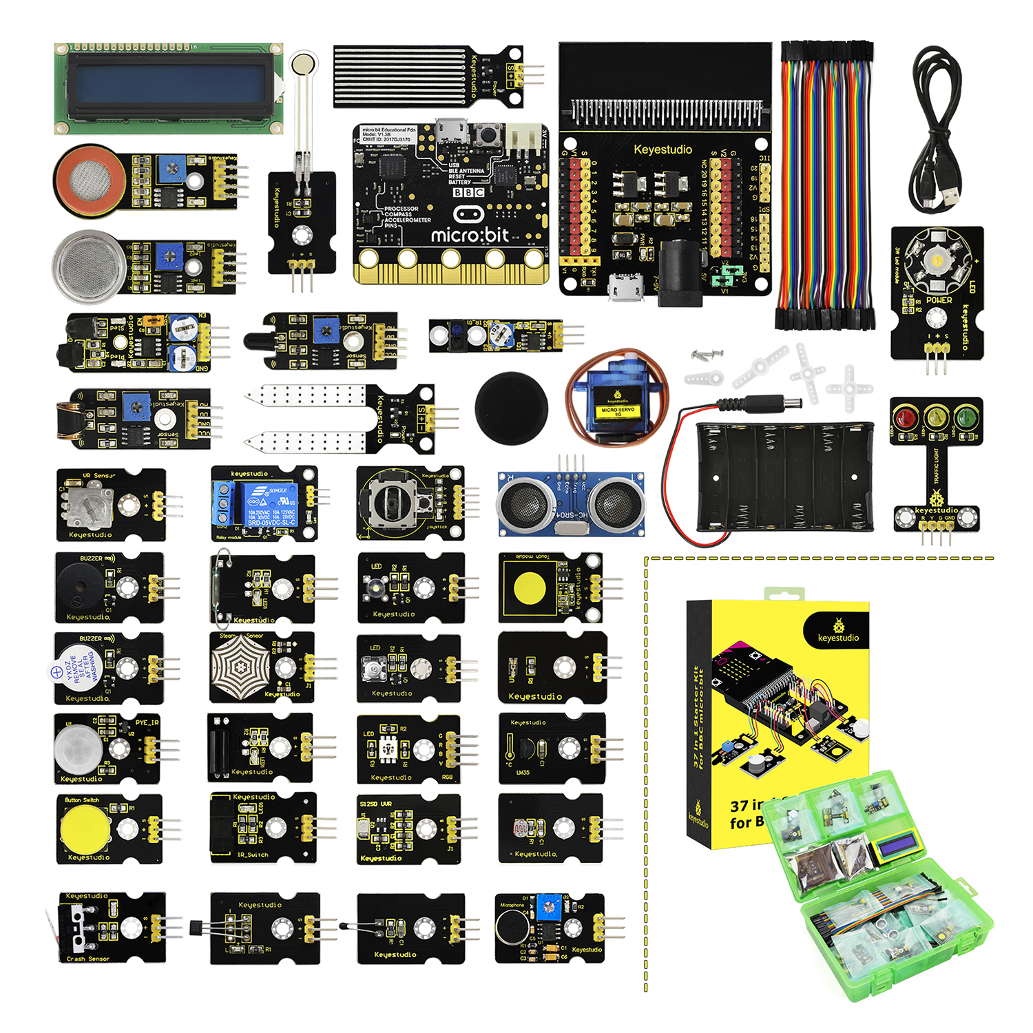 Keyestudio 37 in 1 Sensor  Starter Kit With Micro:Bit Board for BBC Micro:Bit DIY ProjectsKeyestudio 37 in 1 Sensor  Starter Kit With Micro:Bit Board for BBC Micro:Bit DIY Projects