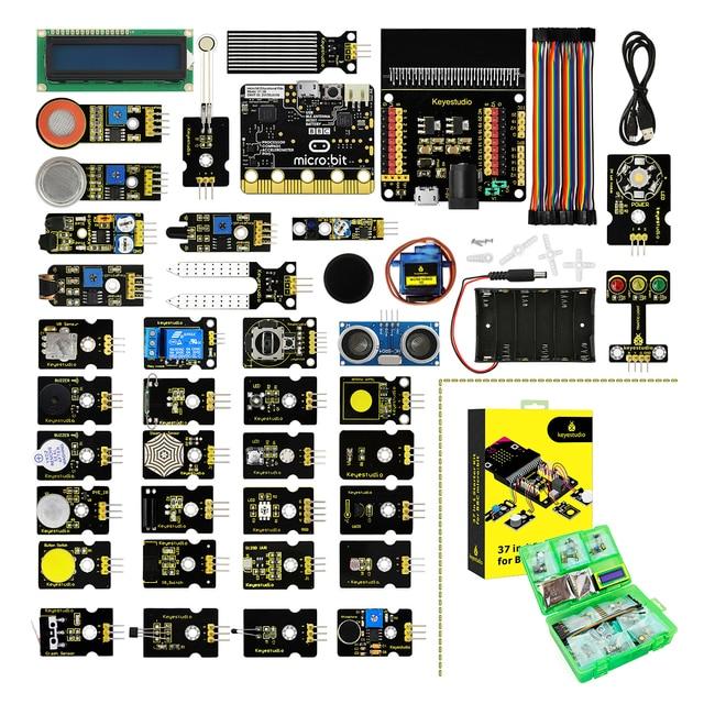Keyestudio 37 in 1 Sensor  Starter Kit With Micro:Bit Board for BBC MicroBit DIY Projects (Including Micro:Bit Board  )