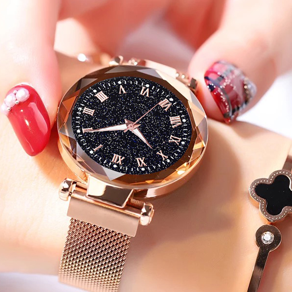 2019 Hot Sale Starry Sky Watch Women's Luxury Magnetic Magnet Buckle Quartz Wristwatch Geometric Surface Female Luminous Watches