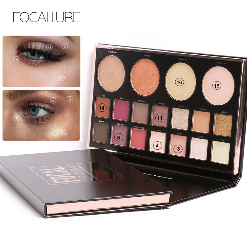 Focallure New Highly Pigmented Glitter Eye Shadow Flash Shimmer With Bush Highlighter Palette Face Makeup Tools Beauty Essentials