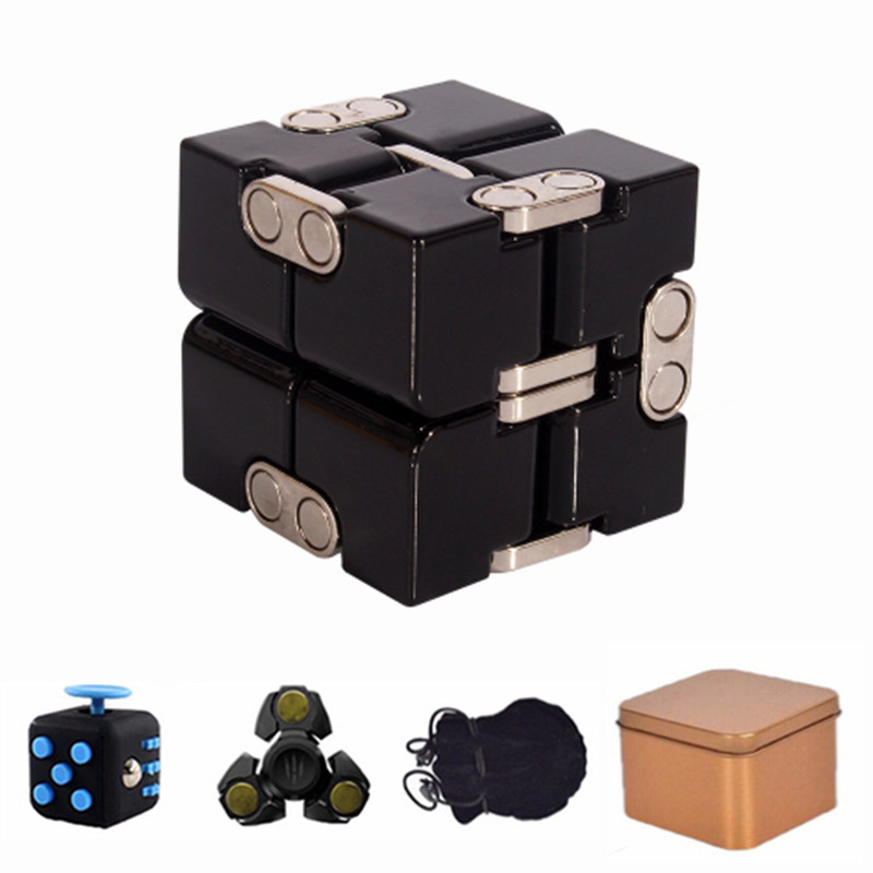 Premium Metal Infinity Cube Fidget Toy Aluminium Deformation Magical Infinite Cube Fidget Toys Stress Reliever for EDC Anxiety infinity cube mini fidget toy finger edc anxiety stress relief magic cube blocks children kids funny toys best birthday gift