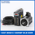 0.95KW AC Серводвигатель 1500 об/мин 6N.M 950 Вт 130ST-M06015 AC Серводвигатель с 3 метровыми кабелями