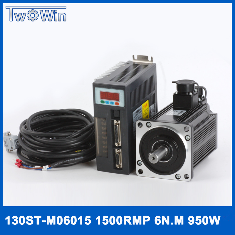0.95KW AC servo driver 1500rpm 6N.M 950W 130ST-M06015 AC servo moto with 3 meter cables 57 brushless servomotors dc servo drives ac servo drives engraving machines servo