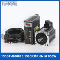 0.95KW AC Servo Driver 1500rpm 6N.M 950W 130ST M06015 AC Servo Motor with 3 Meter Cables