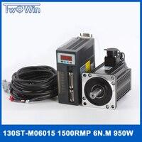 0.95kw ac сервопривод 1500 об./мин. 6N. m 950 Вт 130st m06015 AC Servo Moto с 3 м кабели