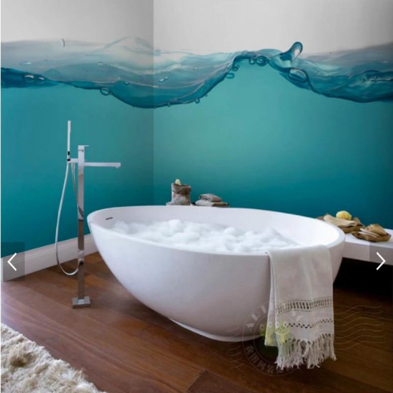 Us 11 25 50 Off Mediterranean Style Blue Sea Spray Bathroom Background Waterproof Wallpaper Wall Paper 3d Wall Paper Wallpapers For Living Room In
