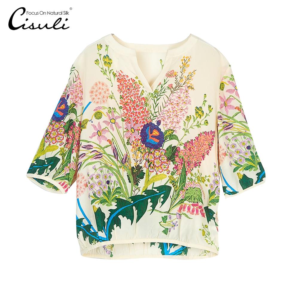 CISULI Chemise Femmes 100% Chemises En Soie D'été Blouses Floral Imprimé Chemise Moitié Manches Femmes Chemise Crème Couleur