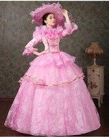 Lüks ruffled pembe/mavi/yeşil/mor şapka ile ortaçağ elbise Rönesans elbise prenses cosplay Victoria/Marie belle balo