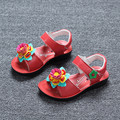 J Ghee New Summer Girls Shoes Genuine Leather Colorful Flowers Kids Shoes Children Beach Shoes 3 Colors EU 25-36 Soft Princess
