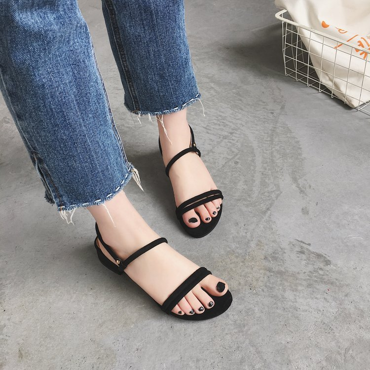 new Flat outdoor slippers Sandals foot ring straps beaded Roman sandals fashion low slope with women 39 s shoes low heel shoes x69 in Low Heels from Shoes