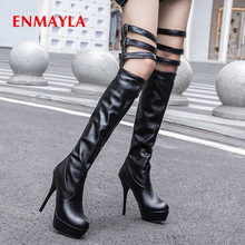 ENMAYLA PU Slip-On Over-the-Knee Basic Round Toe Super High Thin Heels Solid Short Plush Buckle Thigh High Boots Women Shoes цена в Москве и Питере
