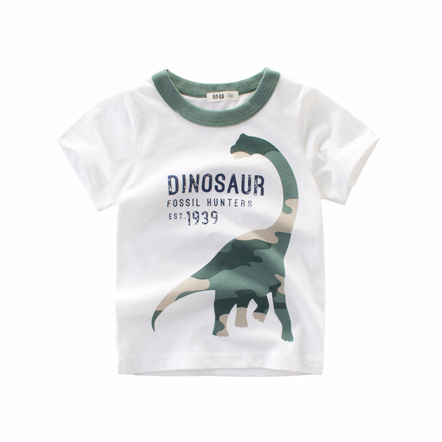 d06e0dd1 Dinosaur T-Shirt For Boys Children Summper White Top Camo Dinosaur Boys  tshirt Children Clothes