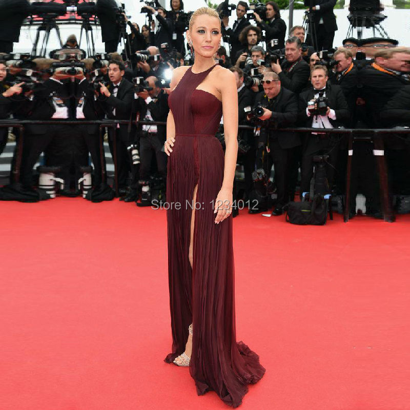 Blake-Lively-2015-Long-Burgundy-Celebrity-Dresses-Red-Carpet-Dress-Halter-Chiffon-Split-Formal-Evening-Gown