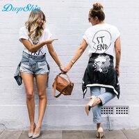 2018 Nowy Letni Best Friends T Shirt Drukuj List BYĆ PT ST KONIEC Kobiet T-shirt Mody Krótkim Rękawem Odzież Kobiet Biały Czarny