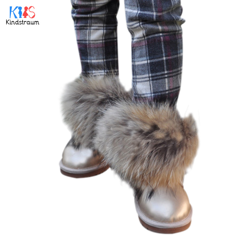 Kindstraum 2017 Girls New Winter Genuine Leather Fox Fur Snow Boots Top Quality Baby Kids Thermal Casual Shoes Fashion,EJ013 high quality kids boots girls boots fashion leather snow boots girls warm cotton waterproof girls winter boots kids shoes girls