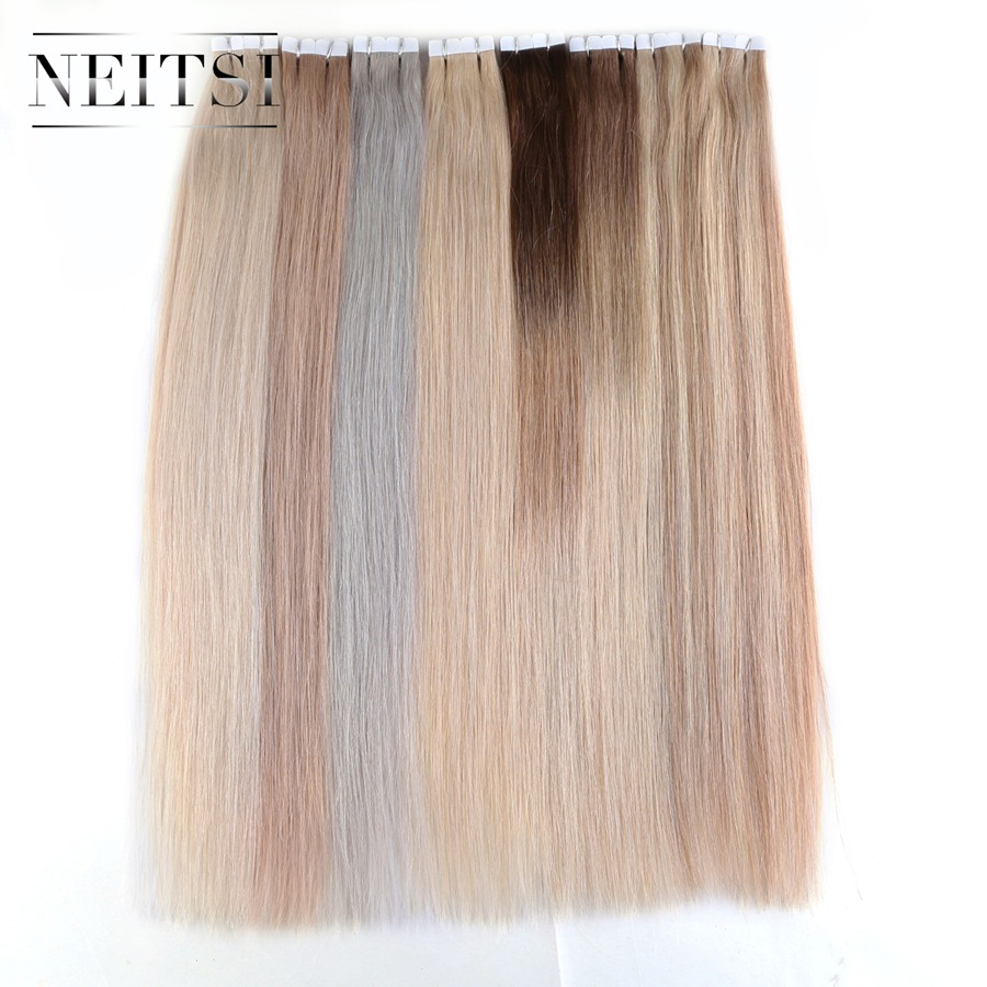 Neitsi Mini Heart Tape In Human Hair Piece 20 2 0g pc 40pcs Natural Straight Skin
