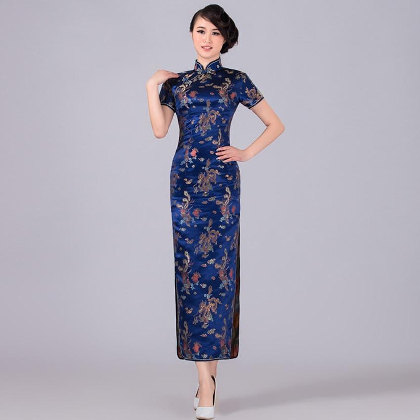Navy Blue Chinese Traditional Dress Women Satin Qipao Dragon Phenix Long Cheongsam Plus Size S M L Xl
