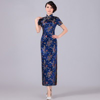 Navy Blue Chinese Traditional Dress Women Satin Qipao Dragon Phenix Long Cheongsam Plus Size S M