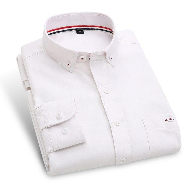 Осень 2016 мужская Твердые Оксфорд Рубашка с Кнопки Вниз Воротник Хлопок Белый Длинные Рукава Slim-fit случайные Рубашки