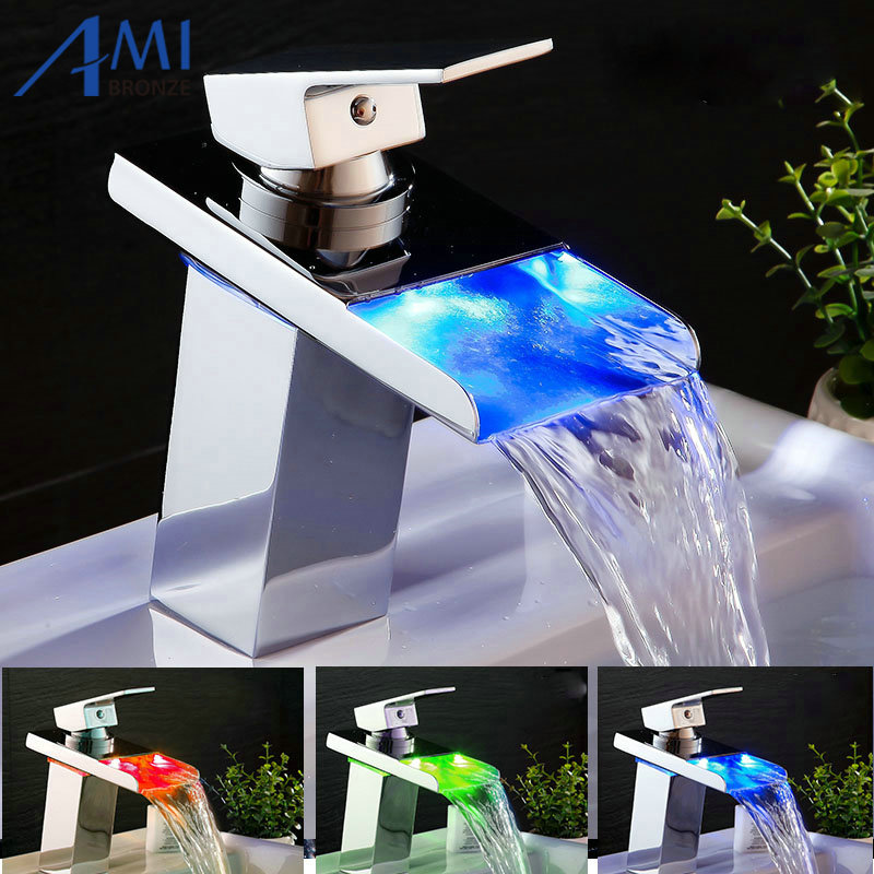 Water Powered LED Faucet Bathroom Basin Faucet Chrome Polish Brass Mixer Tap Waterfall Faucets Hot Cold Crane Basin Tap automatic sensor polish chrome waterfall bathroom basin faucet cold tap plate