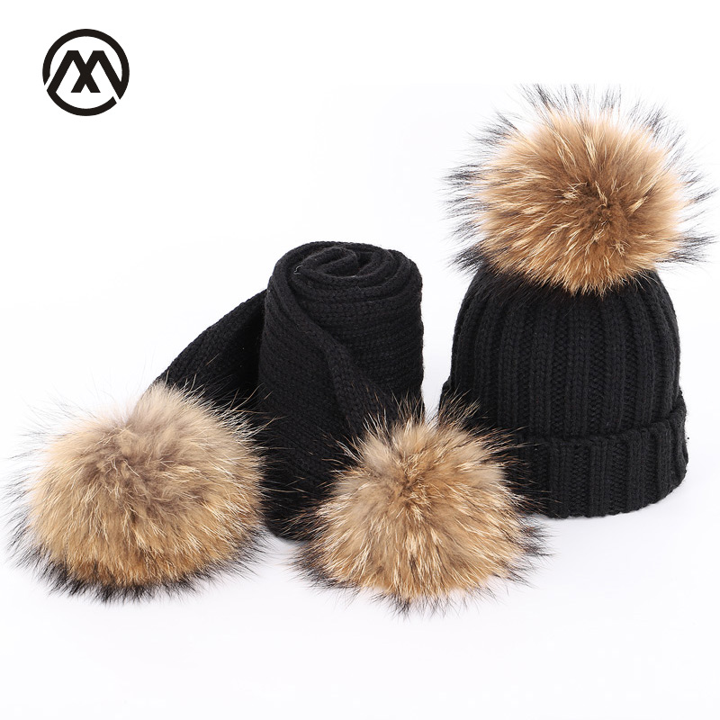 New Autumn And Winter Children's Knitted Raccoon Fur Pom-pom Hats Color Warm And Comfortable Ski Adjustable Boy Girl's Caps Bone